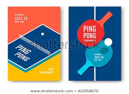 Tênis de mesa ping-pong isolado branco esportes Foto stock © konturvid