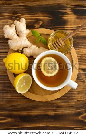 beker · gember · thee · citroen · honing · donkere - stockfoto © zhekos