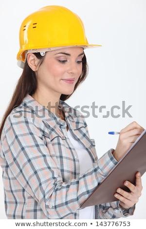 bloco · de · notas · escrita · mulher · trabalhar · construção - foto stock © marcelozippo