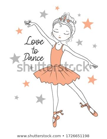 illusztráció · tánc · ballerina · szárnyak · lány · mosoly - stock fotó © glenofobiya