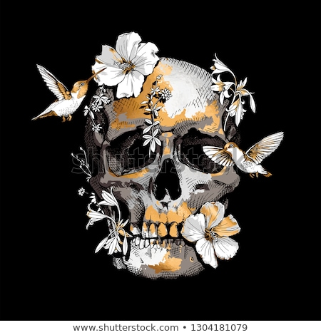 skulls and flowers stock photo © ekapanova