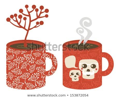 Tasse smog crânes drôle illustration famille Photo stock © ekapanova