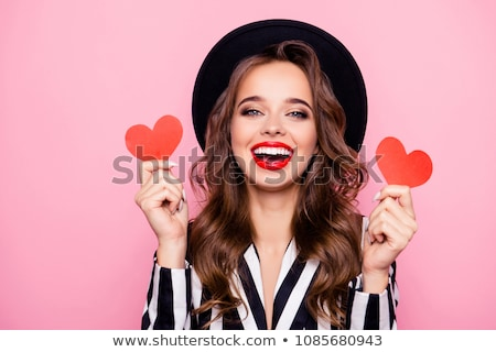 joli · dame · lèvres · rouge · coeurs - photo stock © ra2studio