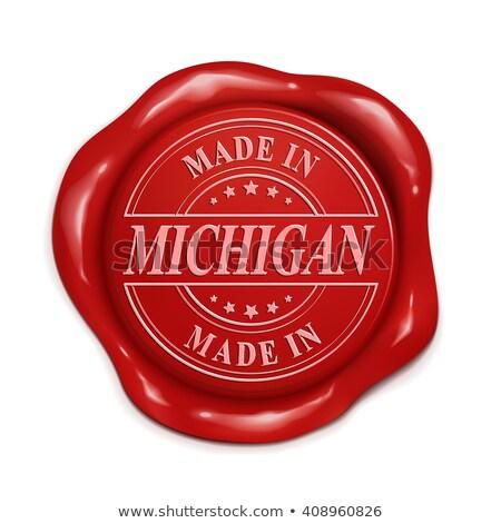 Michigan bélyeg piros viasz fóka izolált Stock fotó © tashatuvango