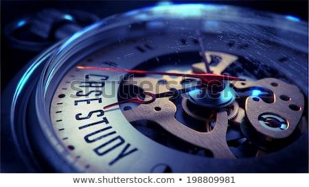 Tempo caso studio cronometro slogan blu Foto d'archivio © tashatuvango