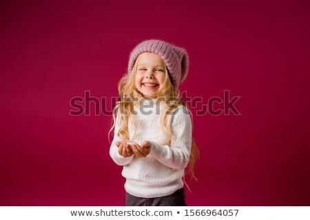 Sarışın kırmızı kızlar gülme aile gülümseme Stok fotoğraf © sebastiangauert
