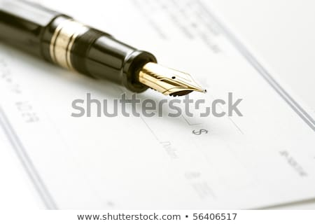 fountain pen on blank check stock photo © ambientideas