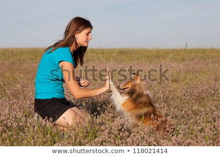 Sweet girl and her small dog Stock photo © DNF-Style