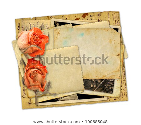 pile of old photos  with roses Stock photo © neirfy