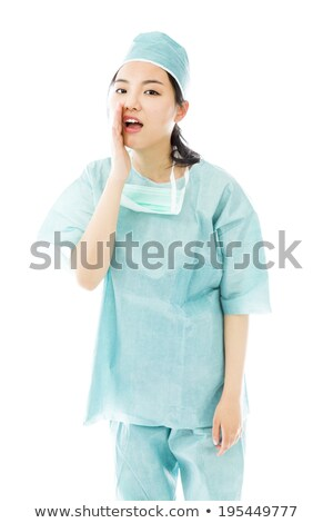 Asian female surgeon whispering message isolated on white background Stock photo © bmonteny
