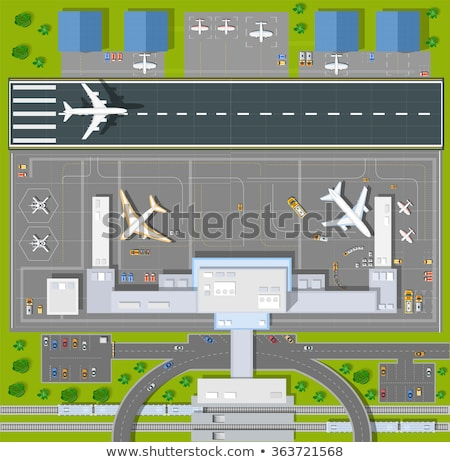 Plane on the runway at the airport. Top view Stock photo © m_pavlov
