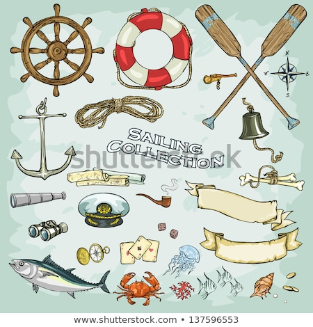ストックフォト: 古い · 釣り · ボート · ビーチ · ヴィンテージ · レトロスタイル