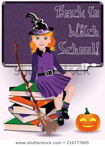 bruna · halloween · strega · bella · donna · nero - foto d'archivio © carodi