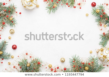 Stock photo: Christmas background with gold baubles