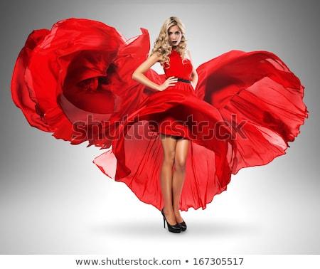 jovem · beautiful · girl · vestido · vermelho · indicação · isolado · branco - foto stock © arturkurjan