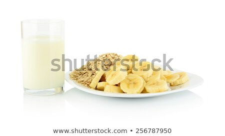 Makró lövés szeletek banán tányér üveg Stock fotó © dla4