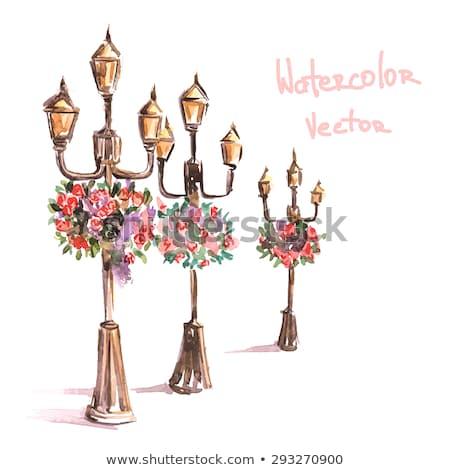 Bloempot opknoping lamp stad muur licht Stockfoto © art9858
