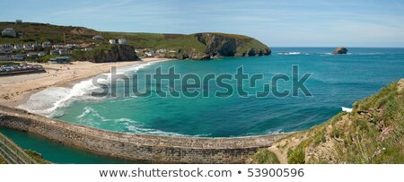 Panorama plage pier Rock île cornwall Photo stock © latent