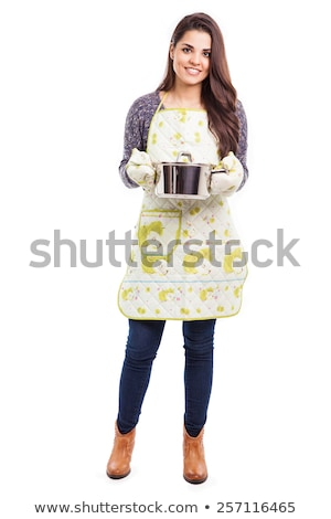 Woman with pot isolated on white Stock photo © Elnur