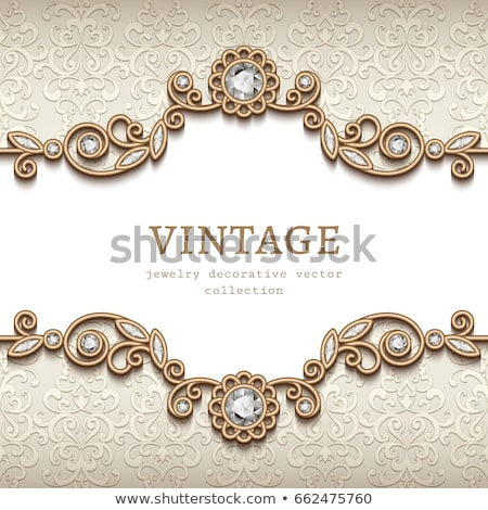 background with ornament with swirls of gold and precious stones stock photo © yurkina