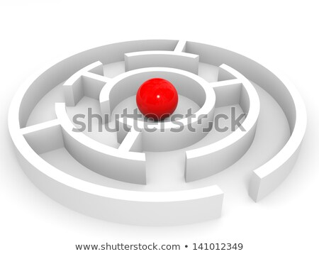 Stock photo: Red sphere in an abstract maze.