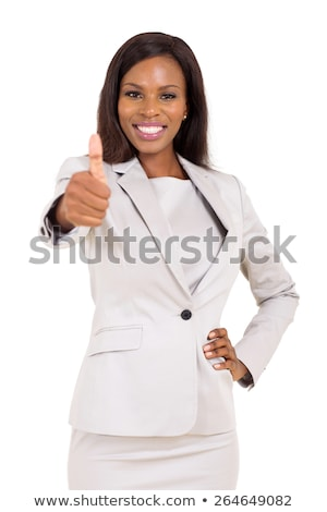 A pretty african american business woman with thumbs up Stock photo © stryjek