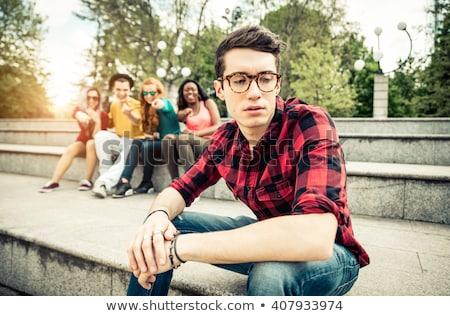 Mutsuz genç öğrenci erkek sınıf Stok fotoğraf © ichiosea