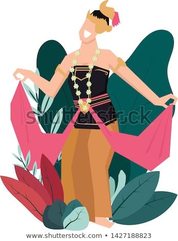 Indonéz táncos illusztráció hagyományos vám stílus Stock fotó © tujuh17belas