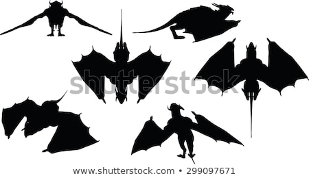 dragon silhouette with fully fold wings  Stock photo © Istanbul2009