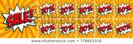 set of pop art comic sale discount promotion vector illustration stock photo © netkov1