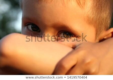 Dziewczyna łzy oczy dziewczynka dziedzinie zabawki Zdjęcia stock © nizhava1956