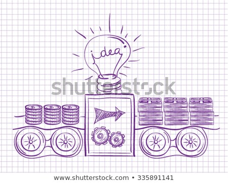 Idea of making money. Machine makes money with idea. Investment scheme Stock photo © orensila