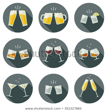 Vector Flat Design Cheers Glasses with Wine Icon Stock photo © Anna_leni