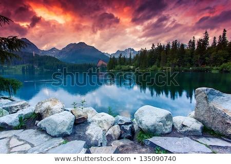Romantik göl dağlar büyük ağaçlar su Stok fotoğraf © albertdw