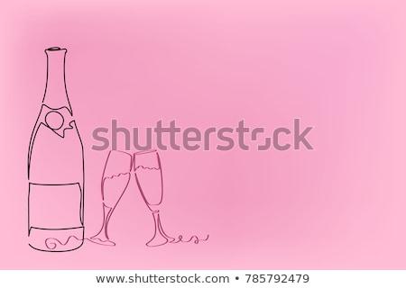 iki · gözlük · pembe · şampanya · çiçekler · parti - stok fotoğraf © neirfy