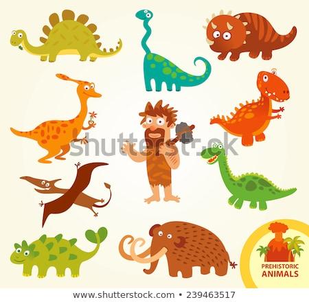 hombre · dinosaurio · cavernícola · Cartoon · animales · naturaleza - foto stock © jossdiim