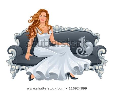 gyönyörű · szőke · nő · pózol · ül · kanapé · nappali - stock fotó © restyler