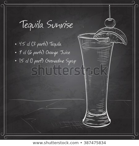 tequila sunrise realistic cocktail on black board stock photo © netkov1