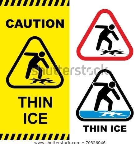 thin ice warning sign stock photo © brm1949