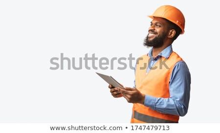 permanente · werknemer · witte · glimlachend · dragen · garage - stockfoto © tiero