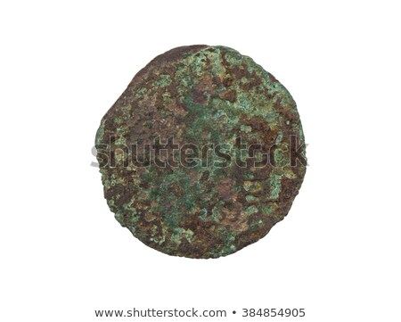 Unrecognisable old coin, rusted and green, isolated Stock photo © michaklootwijk