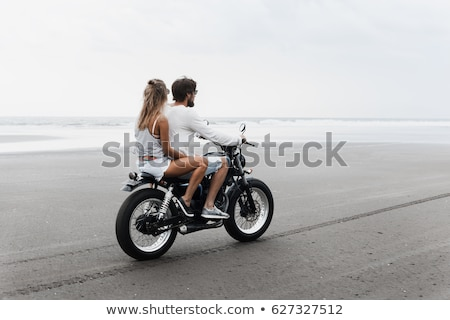 Bearded motorcyclist outdoors Stock photo © bezikus
