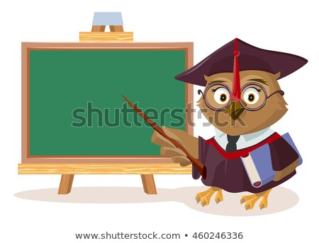 owl teacher with book and pointer stands near blackboard stock photo © orensila