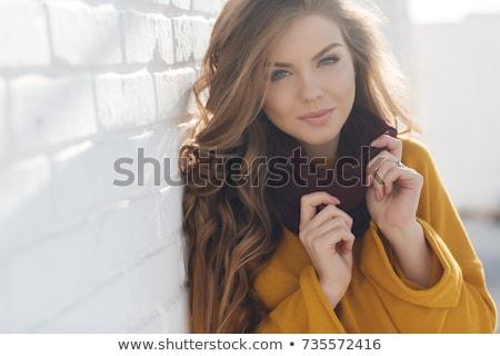 Happy pretty woman in warm winter fashion Stock photo © dash
