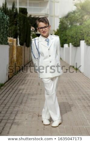 Fiatal srác áll mosolyog első szent úrvacsora Stock fotó © BigKnell