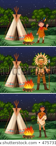 scene with native american indians at campground stock photo © bluering