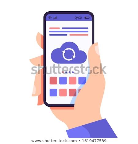 Kütyük kezek terv illusztráció tabletta mobiltelefon Stock fotó © kali