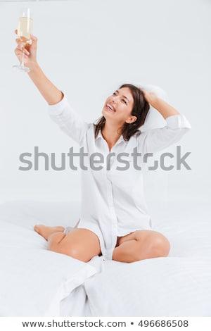 Menyasszony fátyol iszik pezsgő eljegyzés buli Stock fotó © deandrobot