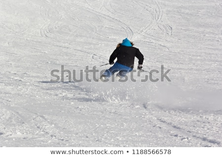 Zdjęcia stock: Skiing At Ski Resort Blured Skier In Fast Motion Extreme Sport