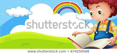 Jelenet szivárvány könyv illusztráció felhők háttér Stock fotó © bluering